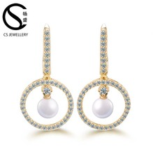 Fashion jewelry 925 silver pearl drop earring latest design of pearl earrings