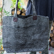 Dark grey washed linen tote bag handbag with leather accents handles