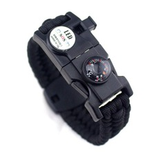 16 in 1 glow in the dark LED light paracord survival bracelet with emergency SOS, compass, and whistle for hiking, camping
