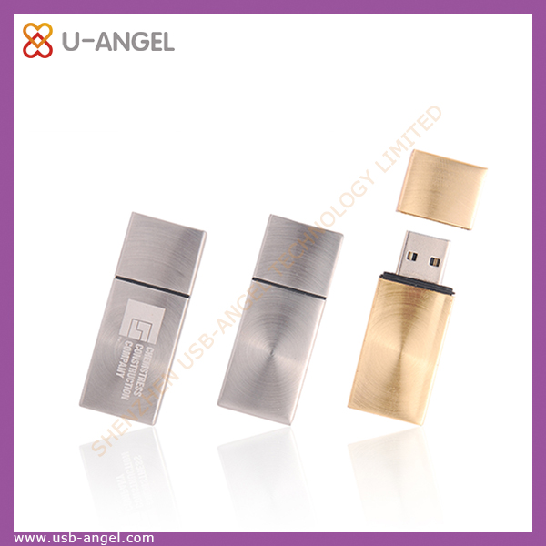 Custom logo flat 8gb usb flash drive, metal plain usb memory stick as promotional gift