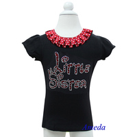 Red White Polk Dots Collar Bling Rhinestone Red Little Sister Black Short Sleeves Top 3M-10Y