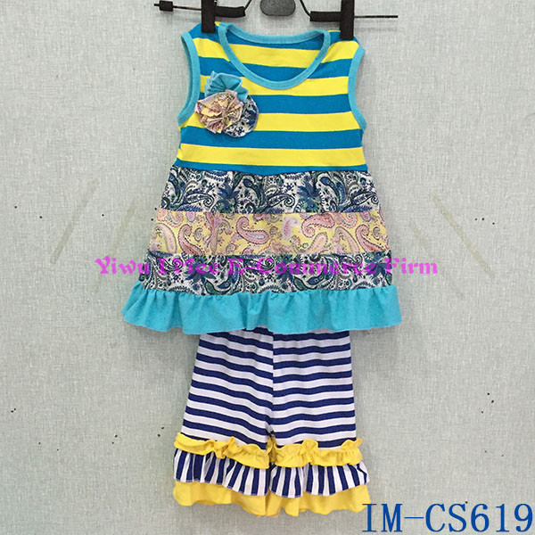 Bulk Wholesale Kids Cotton Clothing Sets Fall Girls Boutique Remakes Outfits with Ruffles IM-CS619
