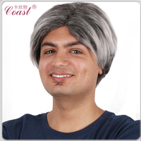 cheap mixed grey synthetic short wigs for old man