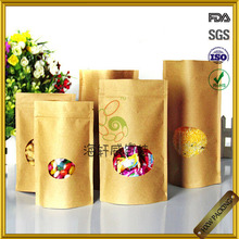 Ziplock Stand Up Pouches Bags Commerical Kraft Paper Fast Food Grade Packaging With Oval Clear Window