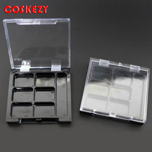 12 g Cosmetic plastic grid case with transparent cover and black matrix rouge boxs /12g powder cosmetic packaging supplie