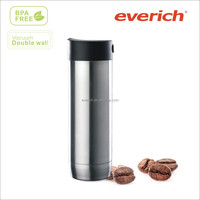 2014 new style 450ml double wall stainless steel vacuum insulated travel coffee mug with side push button lid