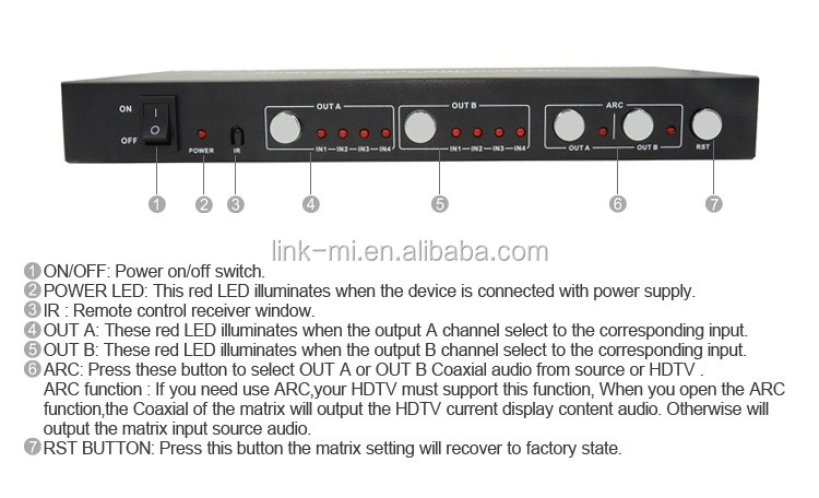 LM-MX42-ARC Super Wideband IR and RS232 Control HDMI Matrix 4x2 With Dual ARC