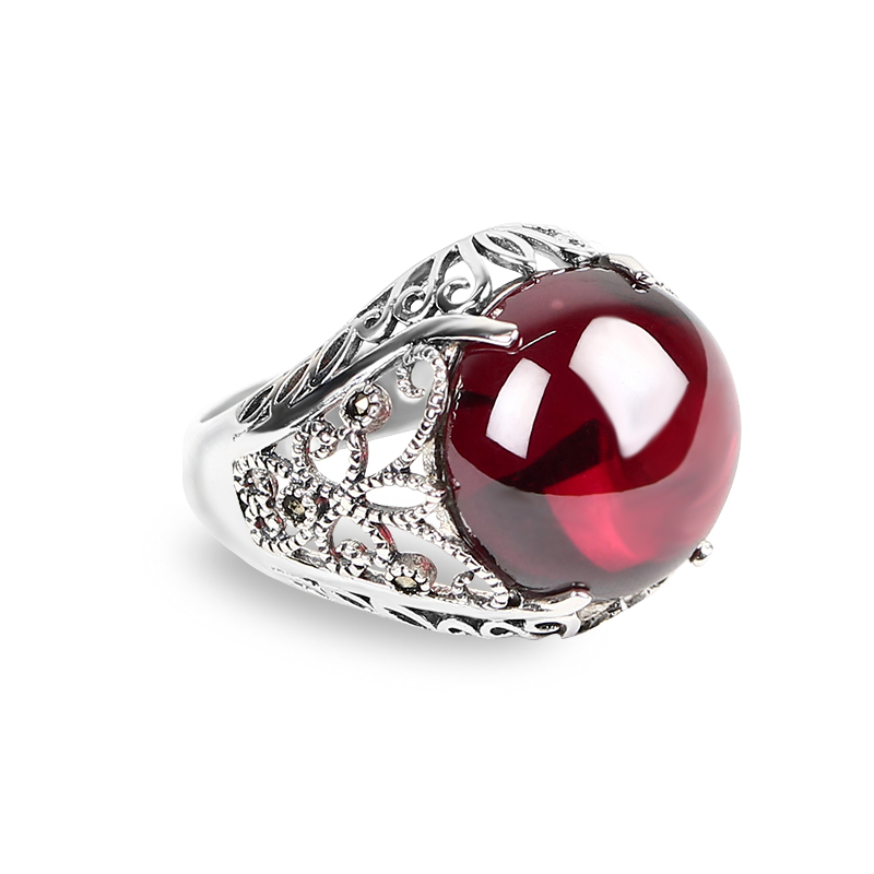 Taidian Brand gemstone ruby ring 925 sterling silver ring