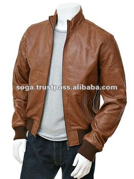 Men's Tan Leather Collar Bomber Jacket