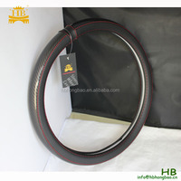 Original black leather carbon fiber steering wheel cover- all sizes