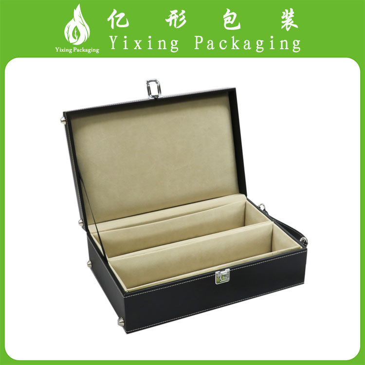 HOT!!Good Quality New Design black leather two bottle wine box 2016