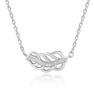 Fashion Jewelry S925 Sterling Silver Leaf Diamond Necklaces for Girl