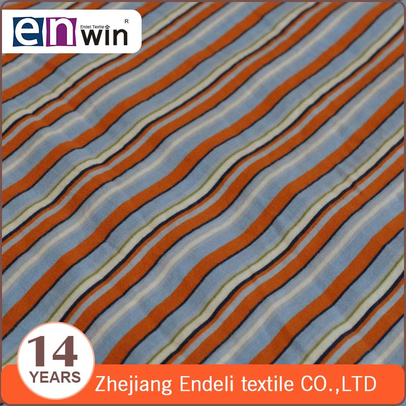 100 percent indian cotton jersey knit stripe fabric for sportswear