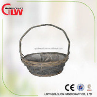 Wholesale oval home and garden willow handle basket,cheap wicker basket, arts and crafts