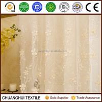 White 3D Pearl Embroidered Fabric Window
