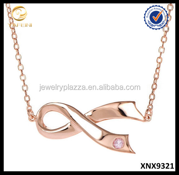 Breast Cancer Awareness Necklace Silver Sideways Jewelry Pink Goldtone Ribbon Necklace