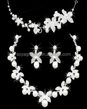 Flower Rhinestone Crystal Pearl Bridal Necklace Earrings Crown Women's Wedding Jewelry Set