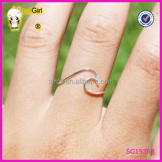 Pure handicraft factory 925 sterling silver party rings Fashion simple wave ring