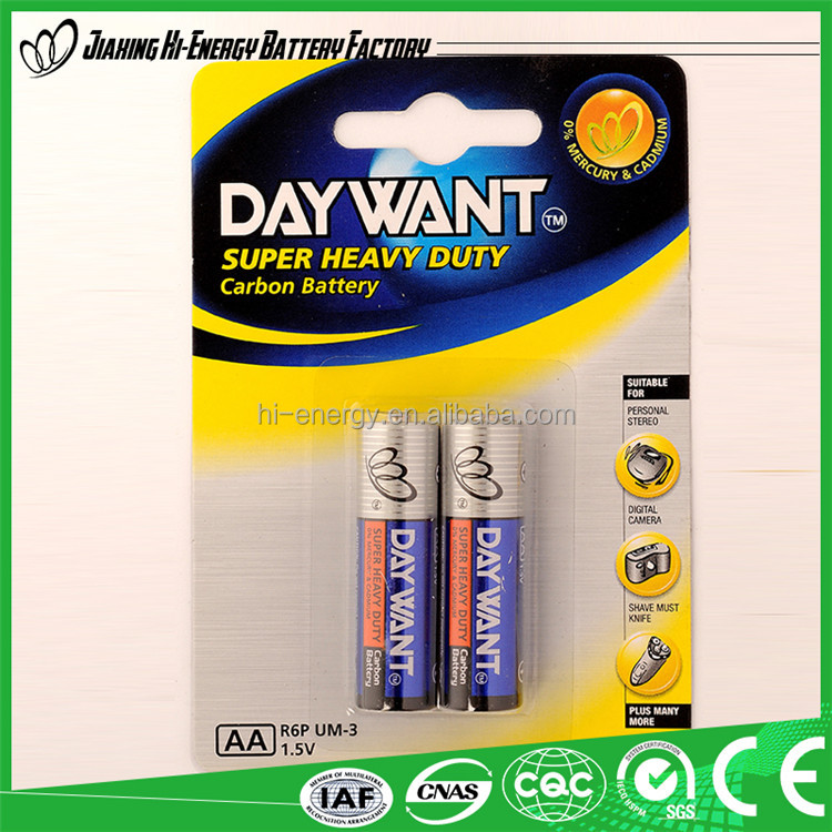 Super heavy duty r6 aa battery 1.5v/r6 metal jacket battery/aa battery r6p 1.5v