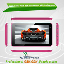 Most cheap 7 inch dual core Android 4.4 tablet with dual camera