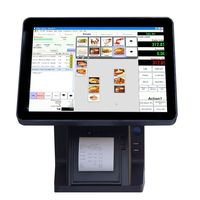 New pos arrival 15 inch touch pos dual touch screen monitor double display all in one built-in printer windows PC stand
