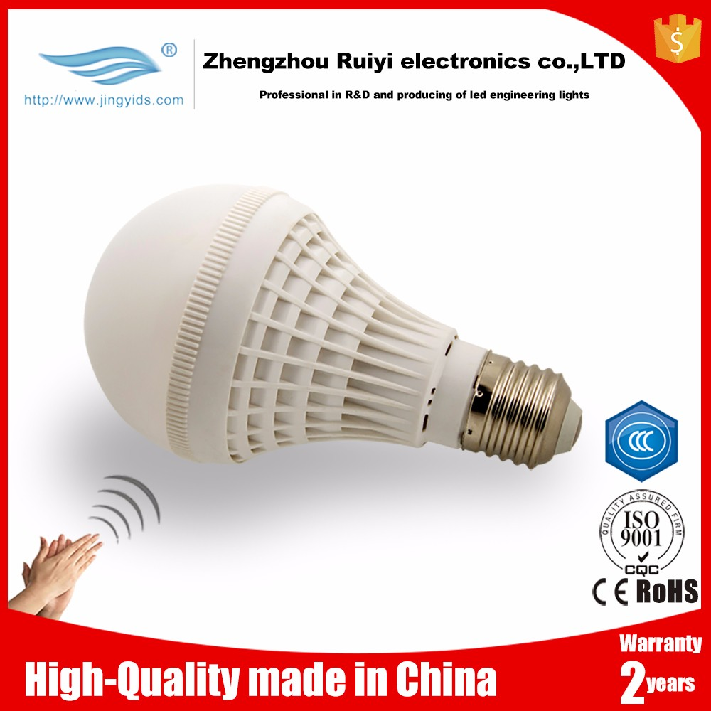 E27 led sensor ceiling light voice activated lighting heat resistant sound control light lamp