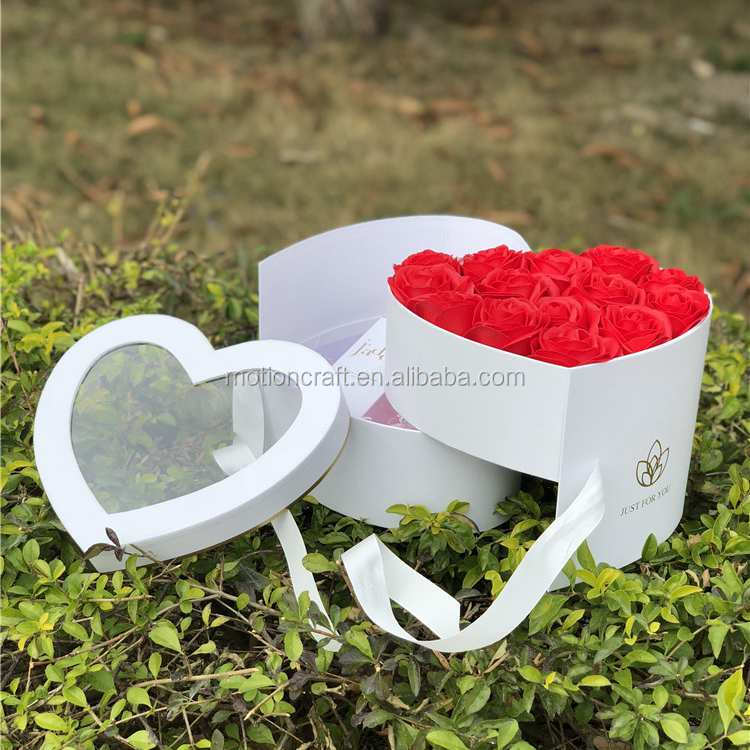 Heart shaped two layers flower box,box flower rose