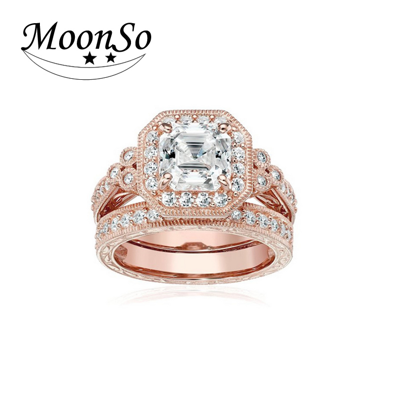 Gold stamped 925 Silver Jewelry Sterling Silver Jewelry Zirconia Ring Set Wedding Engagement Ring Band Ring For Women KR2500S