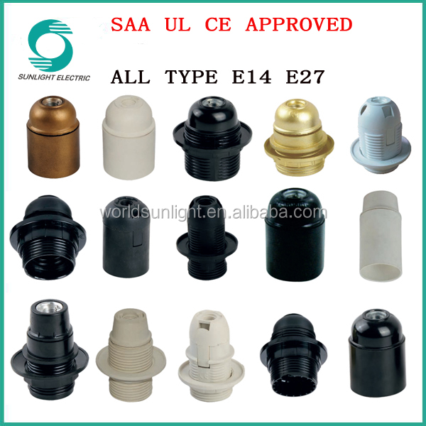 All types CE SAA UL approved waterproof E14 E27 LED lighting table lamp base bakelite lamp holder parts