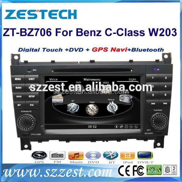 For Mercedes benz W203 Car dvd gps navigation 2004-2007 with CANBUS BT Radio AM/FM 3G DVD CD ZT-BZ704