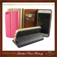 PU synthetic leather wallet case for iphone 6 6plus with card holder stand phone shell wholesale