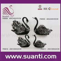 Custom handmade cheap metal decorative small resin black swan figurine