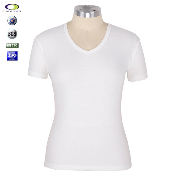 Wholesale white women v neck cotton bulk blank plain t for T shirt printing in bulk