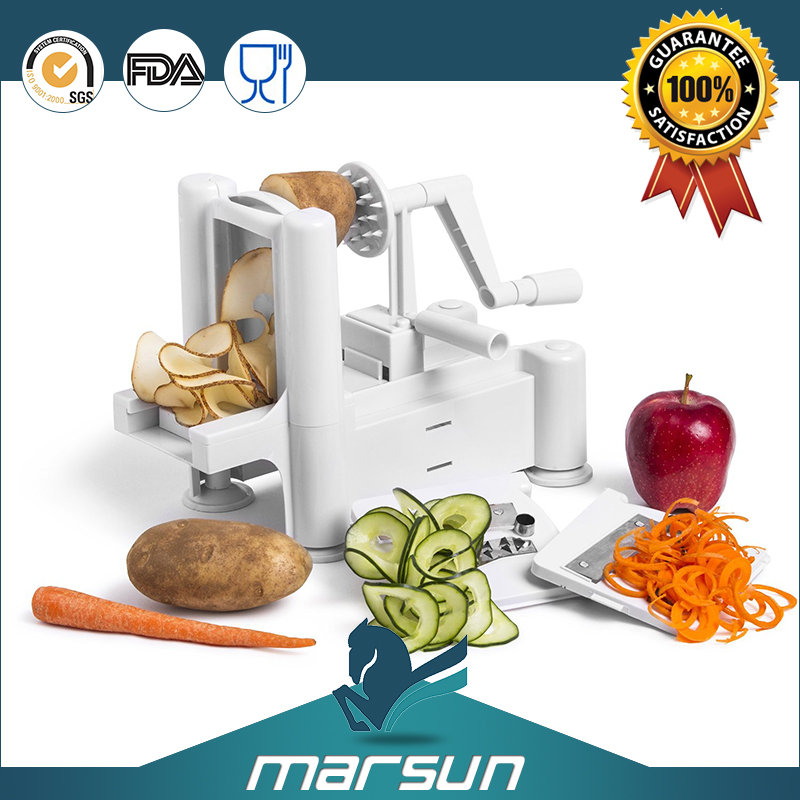 Multifunction Easy-to-use Hand Operated Plastic Spiral Vegetable/Fruit Slicer with Tri-Blade