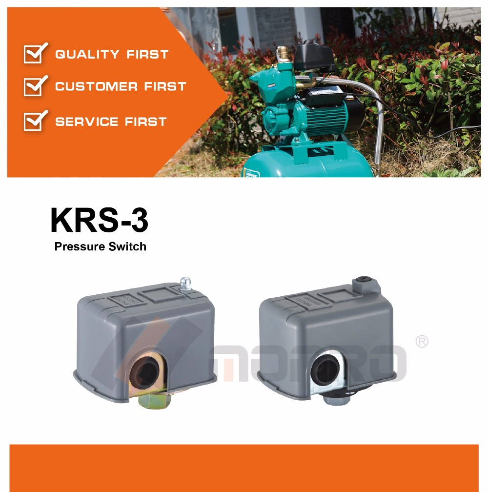 Zhejiang Monro gery color/white plated female/male low voltage pressure switch for water pump(KRS-3)