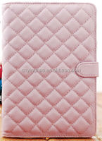 pink grid pu case for mini ipad