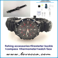 Fire Starter + Round Thermometer + Compass + Watch + Fishing Tools Accessories Paracord Bracelet with Fishing Equipment