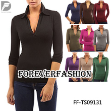 Hot Selling America Women's V Neck Long Sleeve Polo Shirt