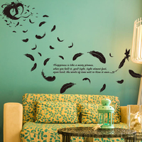 New design custom home decor the feathers of angels wall stickers