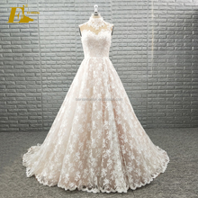 Elegant High Neck Lace Sleeveless Fabric Wedding Dress Bridal Gown With Detachable Skirt