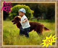 Cute Baby Boy And Dog Photo Image Hot Oil Painting Photo Image Wall Diy Crystal Diamond Painting Diamond Home Decor Oil Painting