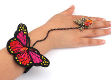 New products 2017 butterfly geometry bracelet with ring