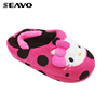 SEAVO AW17 cat face design cute animal red fluffy indoor slippers for kids