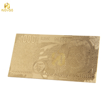 Novelty Italy 1000 dollar bill Iira 24k gold foil Banknote gifts