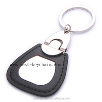 CUSTOMIZED PROMOTIONAL BLACK COLOR GIFT LEATHER KEYCHAIN (BK20856)