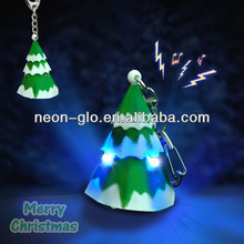 Flash Christmas Tree Key Chain w/Sound, w/Rubber Paint For Parties And Events
