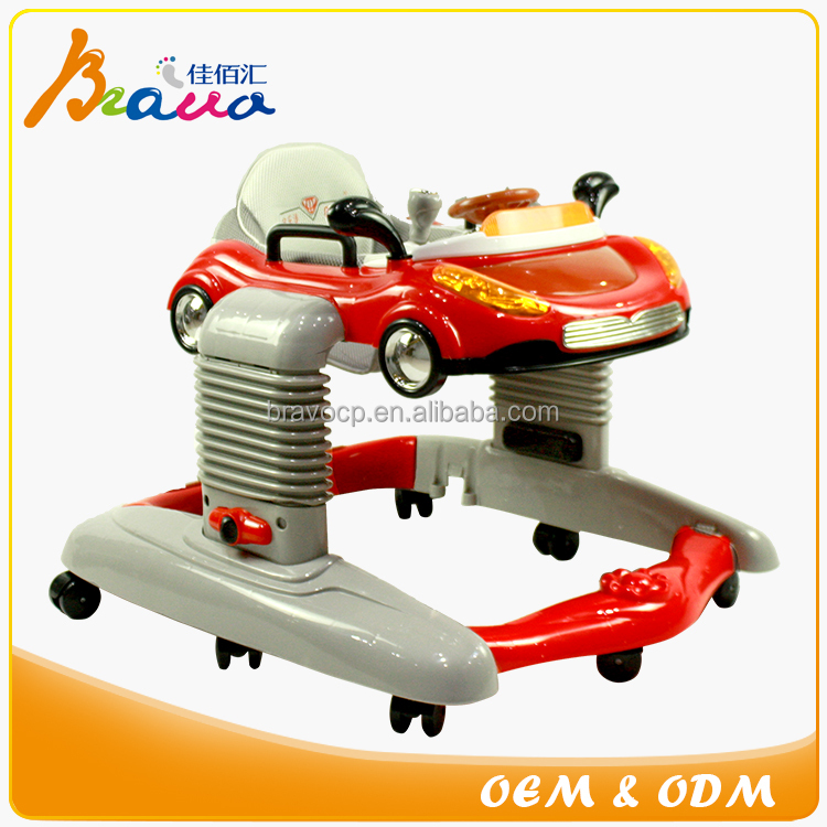Extra-wide Base All in 1 Racing Car Baby Walker with Electronic Play Tray