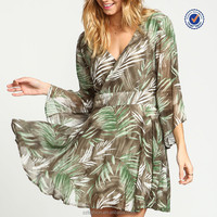 Tropical wrap flared chiffon dress patterns bell sleeves dress