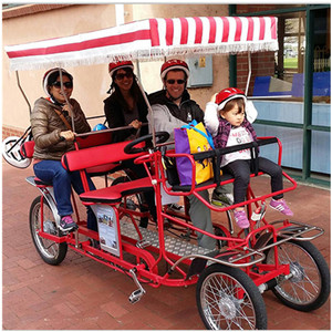 Bestselling Family Style Quadricycle Surrey Sightseeing Bike Tandem Bicycle 4 Person Surrey Bike