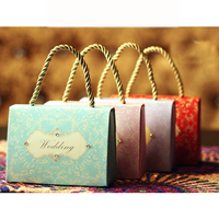 new products cheap wedding gift for guest candy box with fabric handle